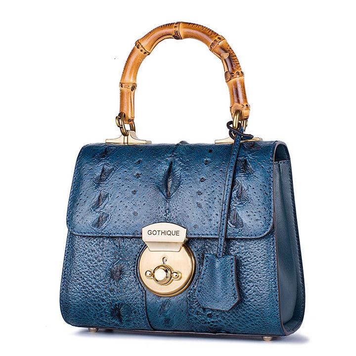 Designer Sturgeon Leather Handbag Crossbody Bag Evening Bag-Blue
