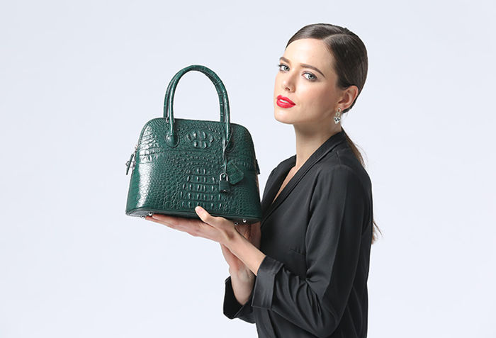 Green Crocodile Leather Handbag for Women BRUCEGAO