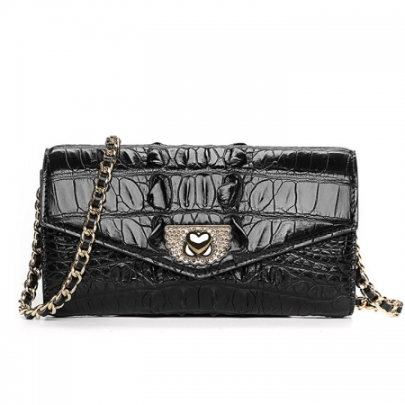 Ladies Crocodile Purse, Evening Crocodile Clutch Bag-Black
