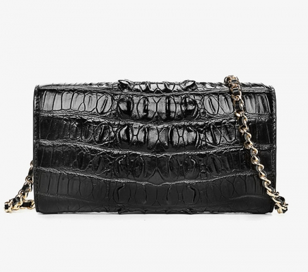 Ladies Crocodile Purse, Evening Crocodile Clutch Bag-Black-Back