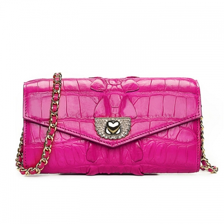 Ladies Crocodile Purse, Evening Crocodile Clutch Bag-Pink