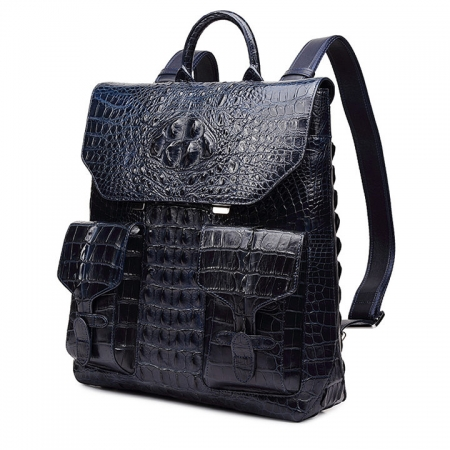 Luxury Genuine Crocodile Skin Backpack, Men's Double Crocodile Shoulder Bag-1