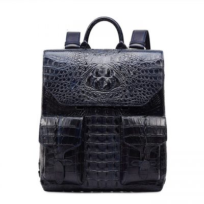 Luxury Genuine Crocodile Skin Backpack, Men's Double Crocodile Shoulder Bag
