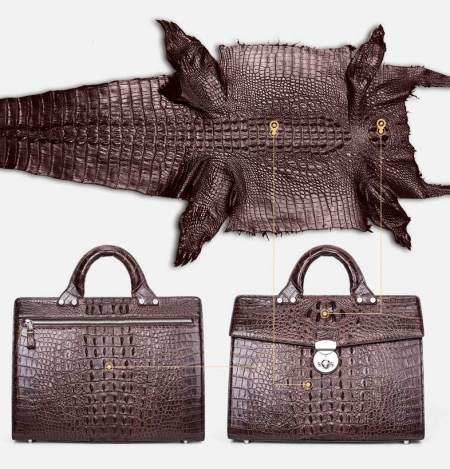 Men's Classic Crocodile Business Briefcase-2