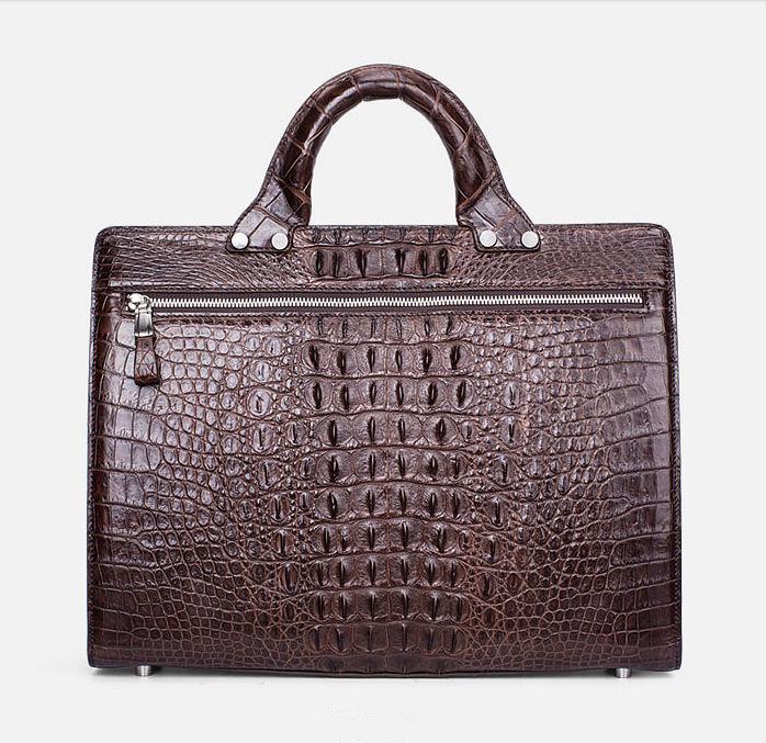 Men's Classic Crocodile Business Briefcase-Back