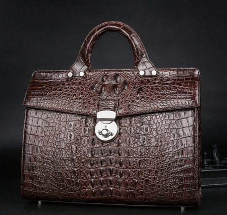 Men's Classic Genuine Crocodile Leather Business Briefcase-Exhibition