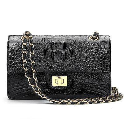 Stylish Evening Crocodile Purse, Crocodile Shoulder Bag-Black