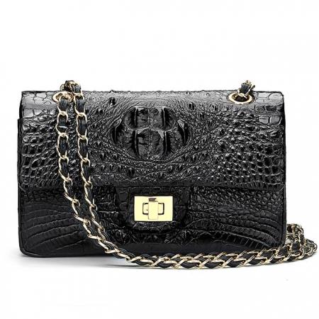 Stylish Evening Crocodile Purse, Crocodile Shoulder Bag-Black