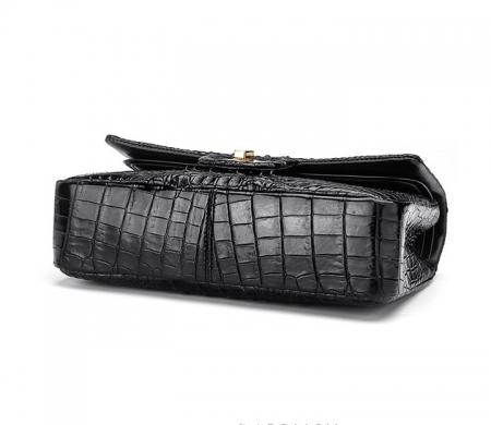 Stylish Evening Crocodile Purse, Crocodile Shoulder Bag-Black-Bottom