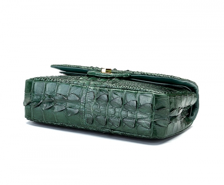 Stylish Evening Crocodile Purse, Crocodile Shoulder Bag-Green-Bottom