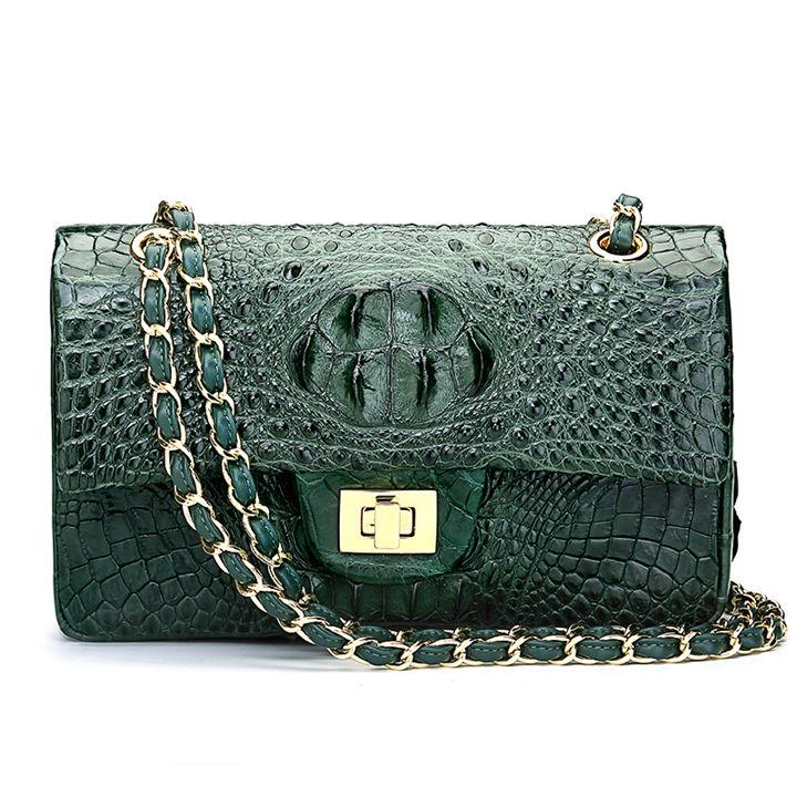 Stylish Evening Crocodile Purse, Crocodile Shoulder Bag-Green