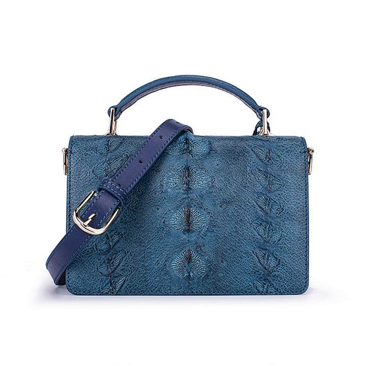 Stylish Sturgeon Leather Handbag, Shoulder Bag, Crossbody Bag Purse-Blue-Back