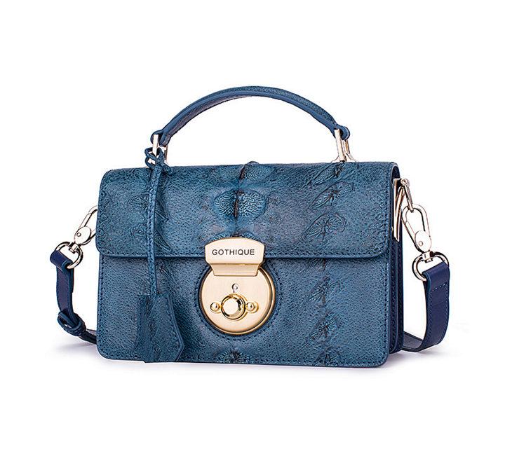 Stylish Sturgeon Leather Handbag, Shoulder Bag, Crossbody Bag Purse-Blue-Exhibition