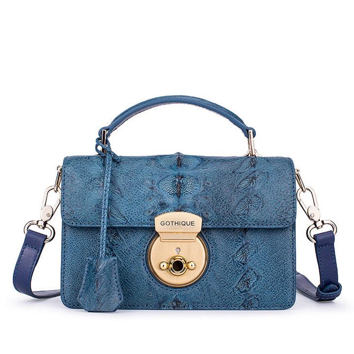 Stylish Sturgeon Leather Handbag, Shoulder Bag, Crossbody Bag Purse-Blue
