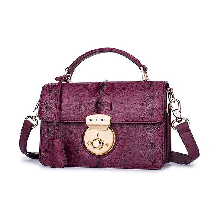 Stylish Sturgeon Leather Handbag, Shoulder Bag, Crossbody Bag Purse-Purple-1