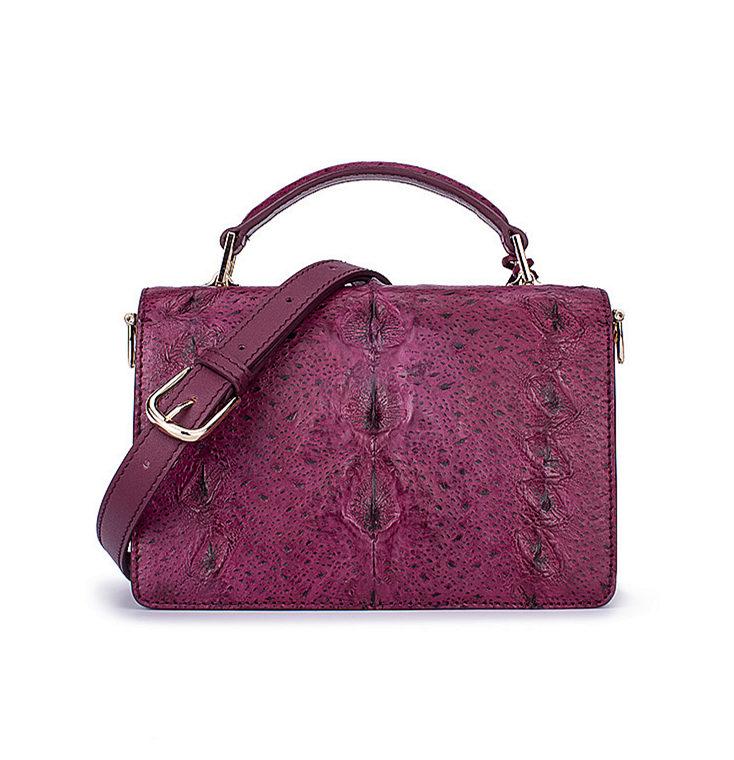 Stylish Sturgeon Leather Handbag, Shoulder Bag, Crossbody Bag Purse-Purple-Back
