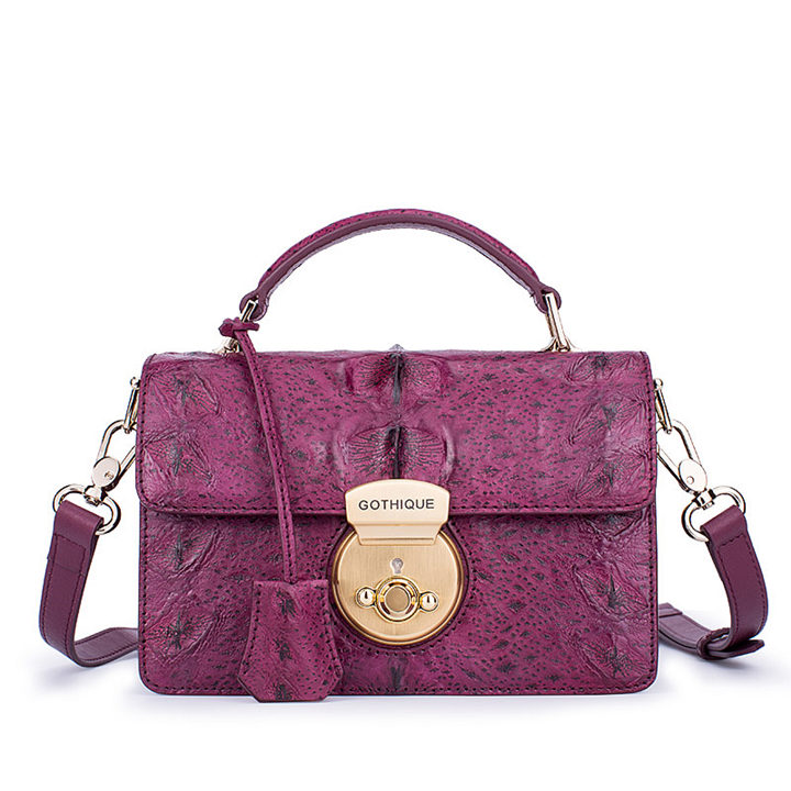 Stylish Sturgeon Leather Handbag, Shoulder Bag, Crossbody Bag Purse-Purple