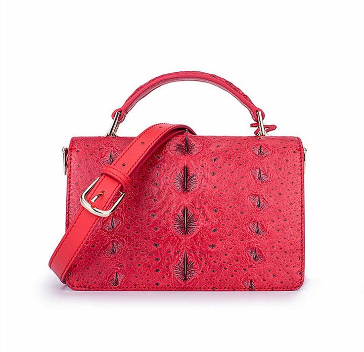 Stylish Sturgeon Leather Handbag, Shoulder Bag, Crossbody Bag Purse-Red-Back