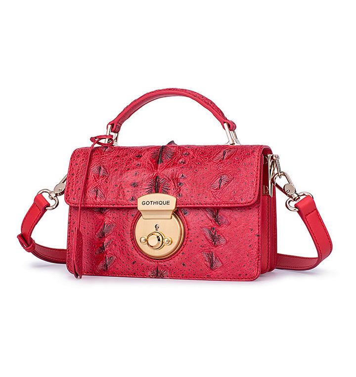 Stylish Sturgeon Leather Handbag, Shoulder Bag, Crossbody Bag Purse-Red-Exhibition