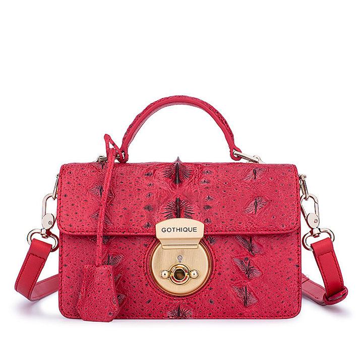 Stylish Sturgeon Leather Handbag, Shoulder Bag, Crossbody Bag Purse-Red