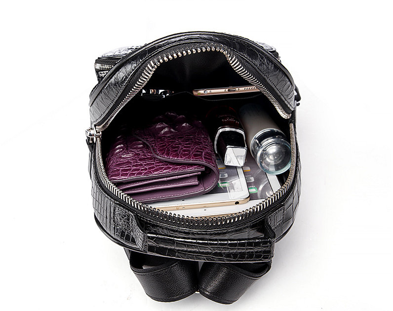 Unisex Crocodile Backpack, Casual Crocodile Laptop Travel Backpack-Inside