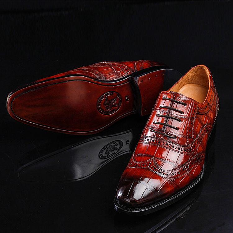 Alligator Brogue Wingtip Dress Shoes-1