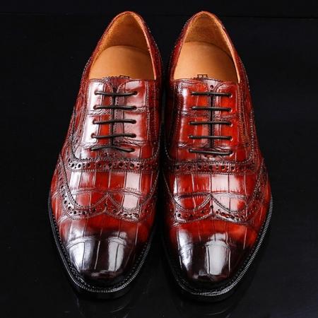 Alligator Brogue Wingtip Dress Shoes-2