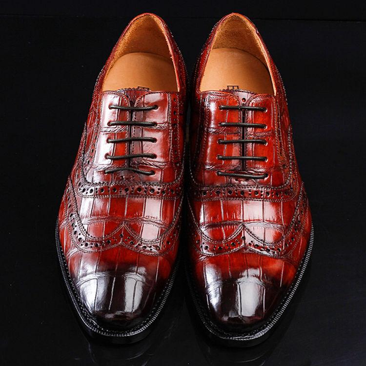 Alligator Brogue Wingtip Dress Shoes-2