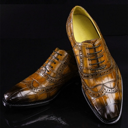 Alligator Brogue Wingtip Dress Shoes-Brown