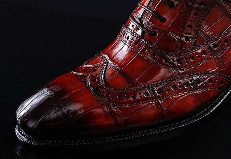Alligator Brogue Wingtip Dress Shoes-Details