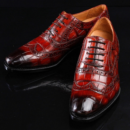 Alligator Brogue Wingtip Dress Shoes-Exhibition