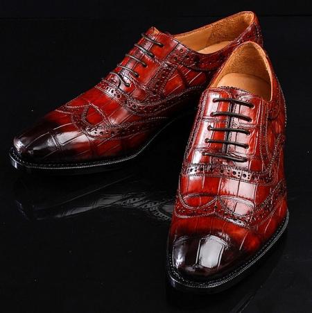 Alligator Brogue Wingtip Dress Shoes-Exhibition