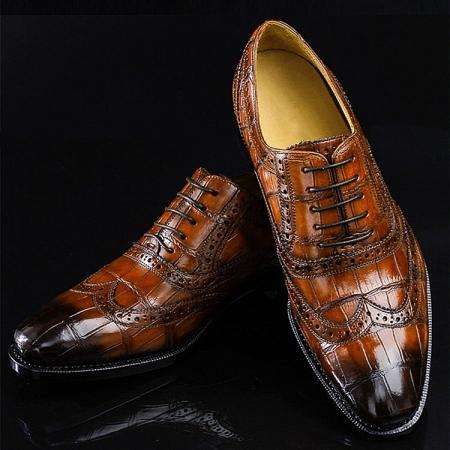 Alligator Brogue Wingtip Shoes-Brown