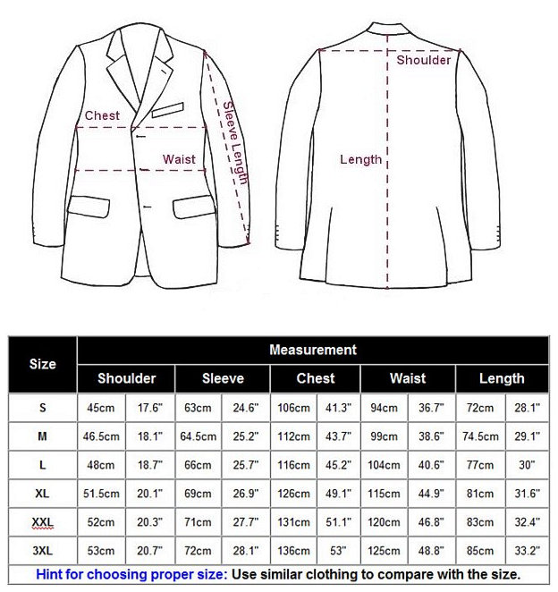 Alligator Jacket Chart