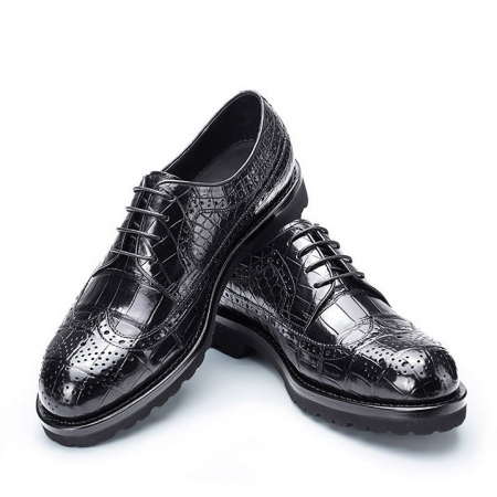 Alligator modern classic brogue lace up leather lined perforated dress Oxfords shoes-1