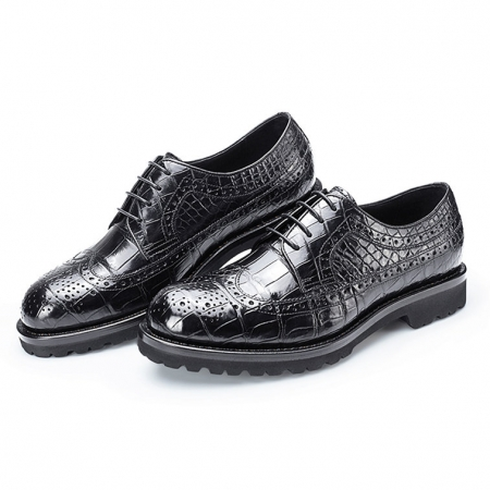 Alligator modern classic brogue lace up leather lined perforated dress Oxfords shoes-2