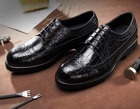 Alligator modern classic brogue lace up leather lined perforated dress Oxfords shoes-Exhibition