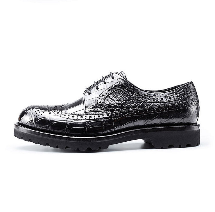 Alligator modern classic brogue lace up leather lined perforated dress Oxfords shoes-Side
