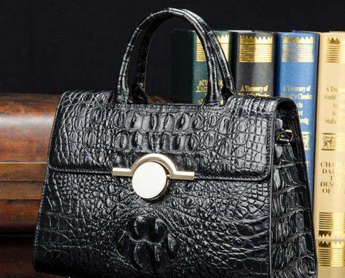 BRUCEGAO Black Crocodile Handbag