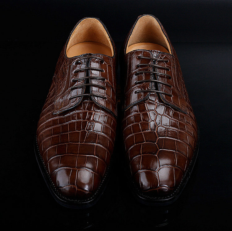 BRUCEGAO Genuine Alligator Dress Shoes for Men-Upper
