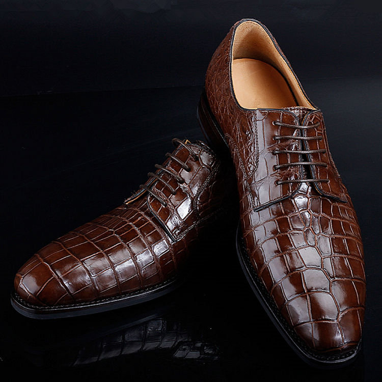 BRUCEGAO Genuine Alligator Dress Shoes for Men