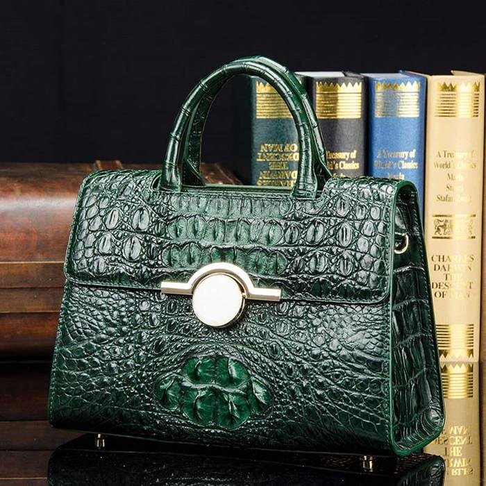 BRUCEGAO Green Crocodile Handbag