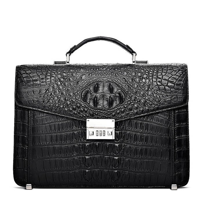 BRUCEGAO's Alligator Briefcase for Business-Black