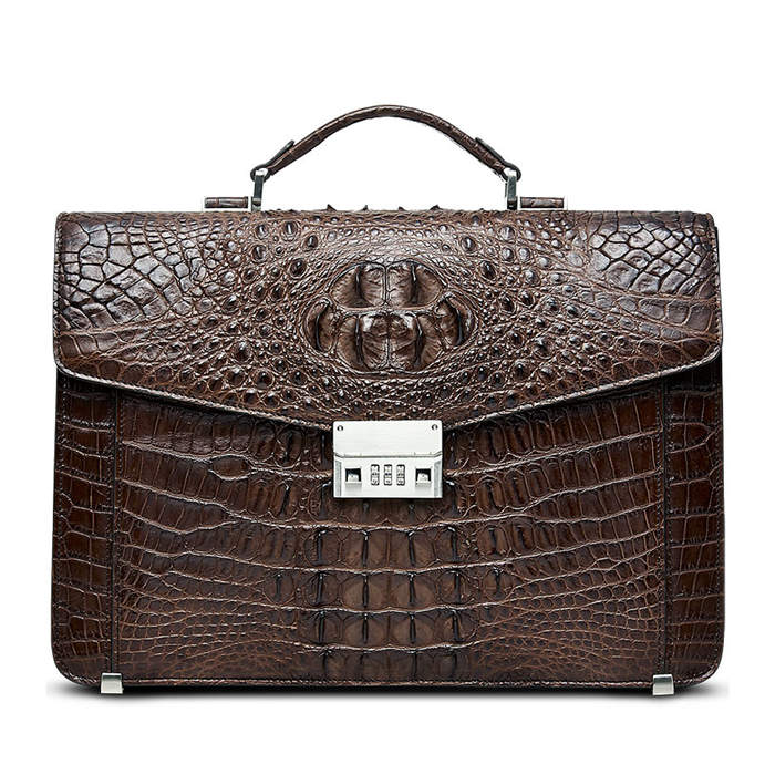 BRUCEGAO's Alligator Briefcase for Business-Brown