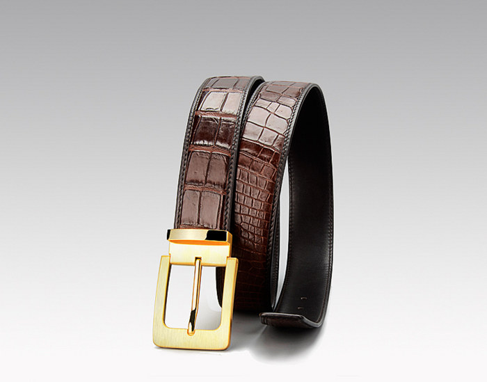 Brown Crocodile Belt to Match the Blue Pants