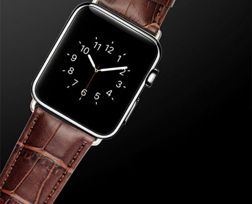 Brown Crocodile Leather Band For Apple Watch
