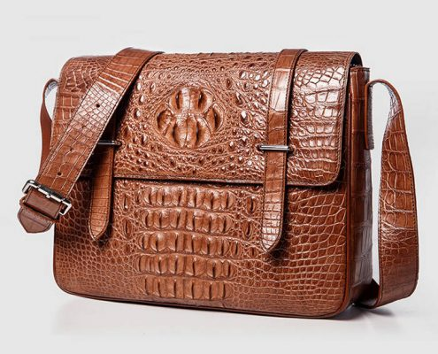Brown Crocodile Messenger Bag