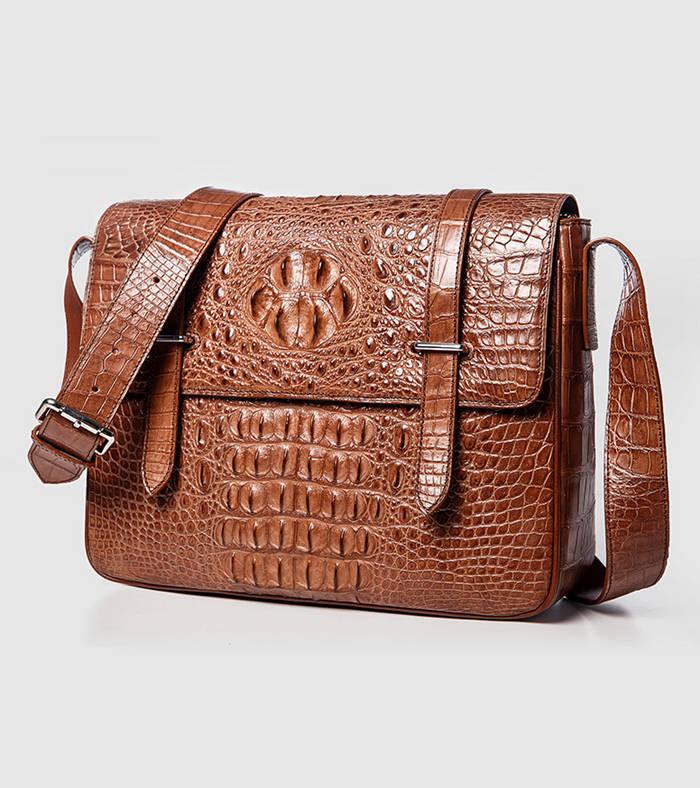 Brown Crocodile Messenger Bag