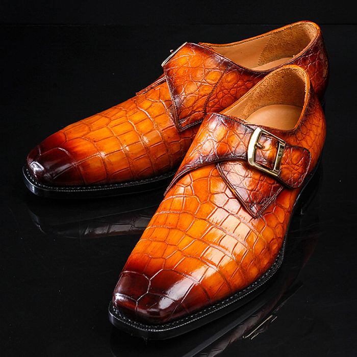 Brown alligator skin shoes form BRUCEGAO