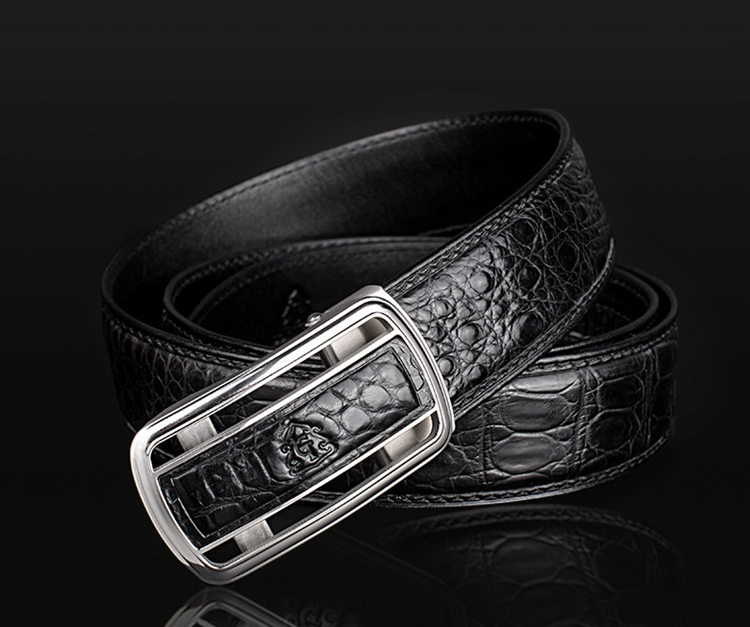 Classic Crocodile Dress Belt, Genuine Crocodile Belt for Men-1